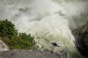 Aniol Serrasolses descends Keyhole Falls near Pemberton, Canada on October 9th, 2014.