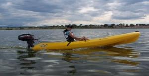 Outboard Kayak Underway
